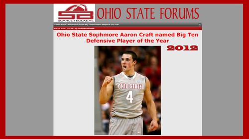 Ohio State universidad baloncesto fondo de pantalla entitled SOPHMORE AARON CRAFT B1G DEFENSIVE POY SCARLET BUCKEYE BLOG