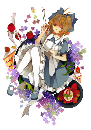 Cardcaptor Sakura wolpeyper with a bouquet entitled Smile! ~