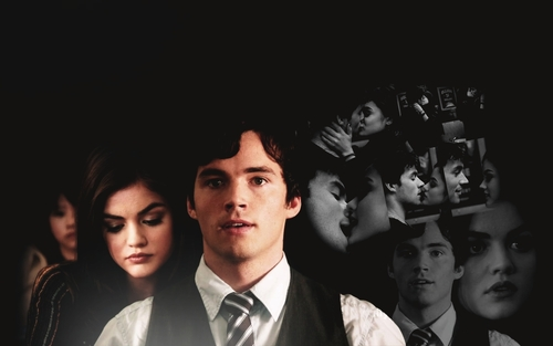 Pretty Little Liars wallpaper with a business suit called Aria&Ezra;