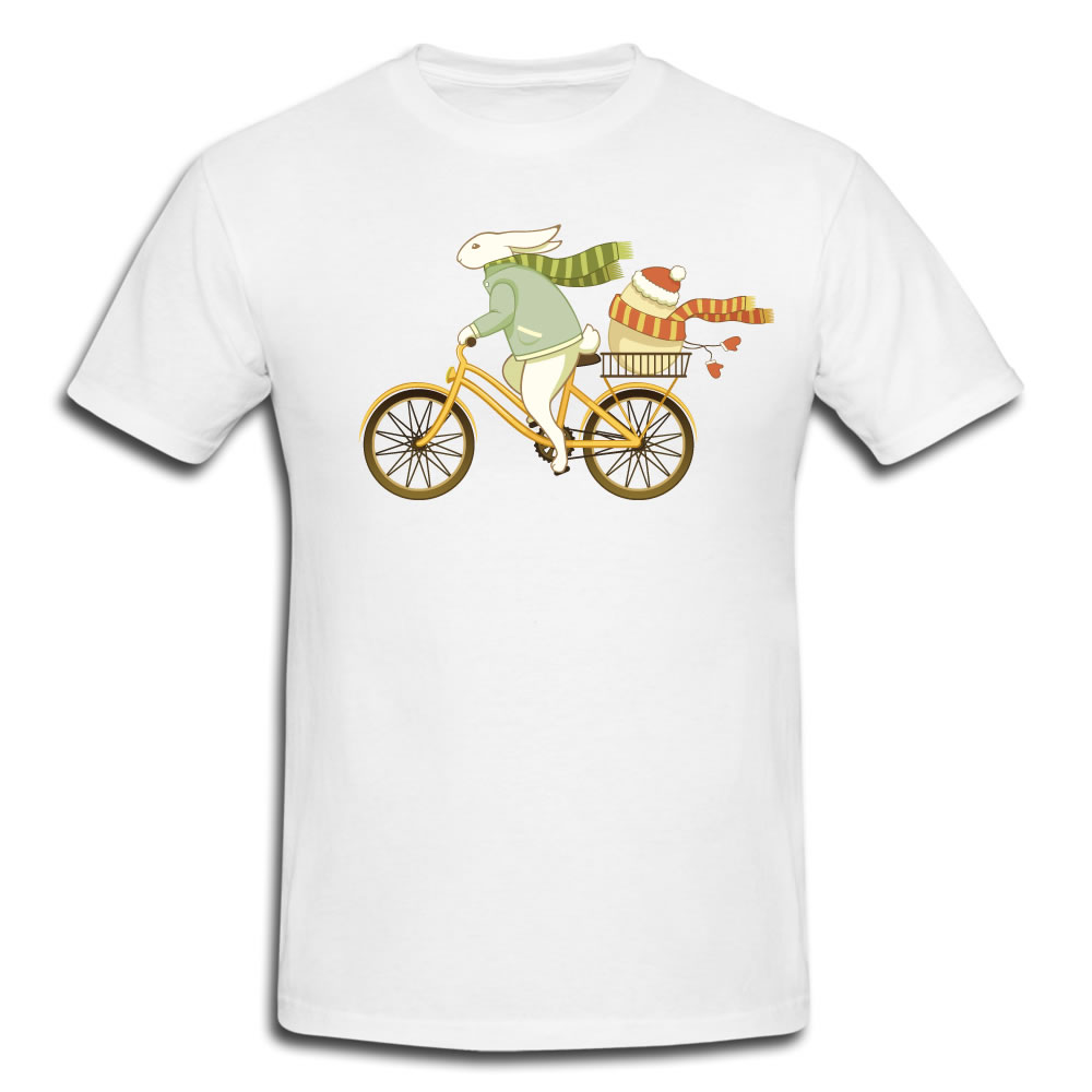 Custom Tee Shirts Images Bicycle Bunny In Winter Easter