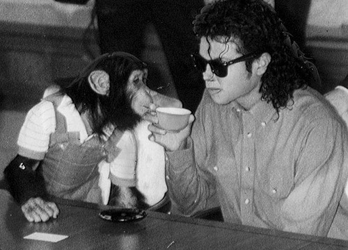 Bubbles Jackson and Michael Jackson bubbles want MJ's drink lol
