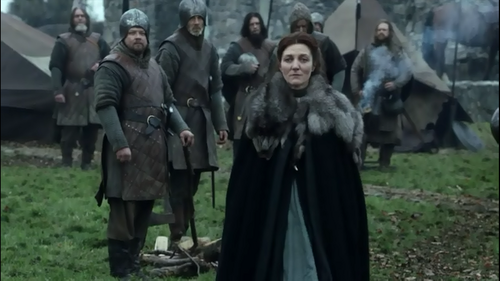 House Stark वॉलपेपर probably with a फर कोट and a surcoat, सुरकोट titled Catelyn and soldiers