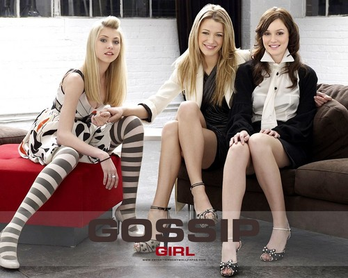 HaleyDewit achtergrond possibly with bare legs and a portrait titled Gossip Girl