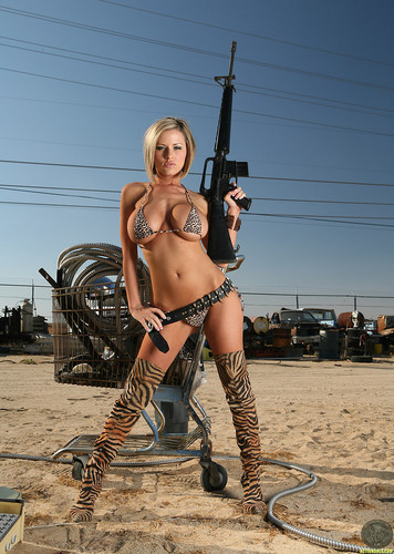Playboy wallpaper with a rifleman titled HOT & SEXY ACTION BABE