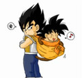 Kid Vegeta and Goku - bardock-and-king-vegeta fan art