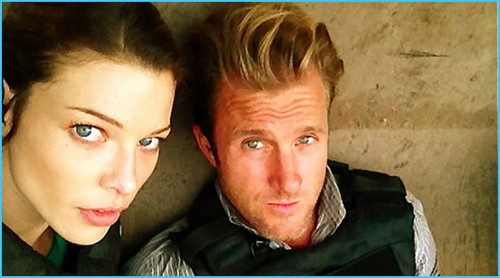 Lauren German and Scott Caan on ste of Hawaii Five-0
