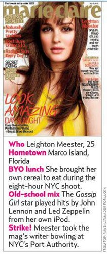 Leighton Meester on the cover of Marie Claire!