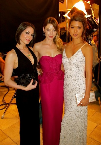 Michelle Borth, Lauren German and Grace Park (left to right) during filming of the gala scene.