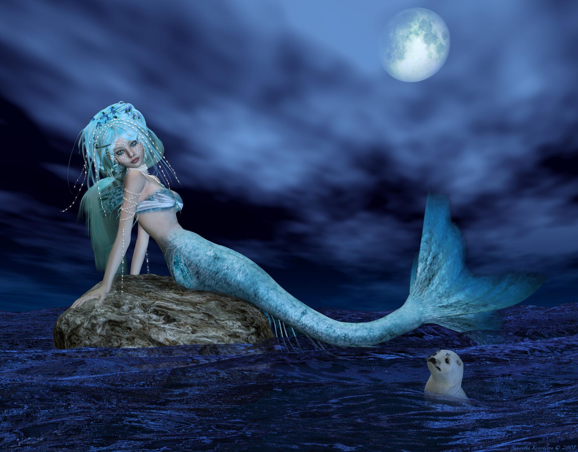 Mermaids images Nerea-Bathing In Moonlight HD wallpaper ...