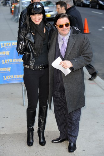 "Pauley Perrette wallpaper containing a business suit entitled Pauley Perrette arrives at ""Late Show With David Letterman"" on February 28."