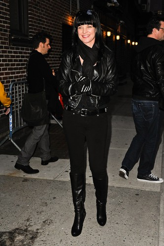"Pauley Perrette arrives at ""Late Show With David Letterman"" on February 28."