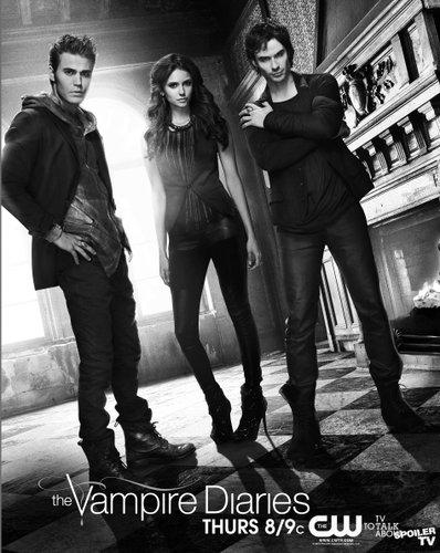 The Vampire Diaries پیپر وال probably containing a business suit, a hip boot, and bare legs called TVD New Poster