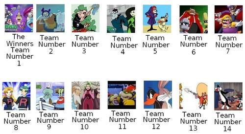 The Amazing Cartoon Race's Season One Teams