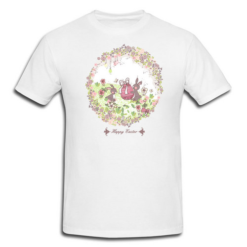 Two Lovely Bunnies in Wreath - Happy Easter T-Shirt