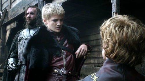 Tyrion with Sandor and Joffrey