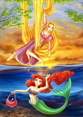Walt Disney Fan Art - Princess Rapunzel & Princess Ariel