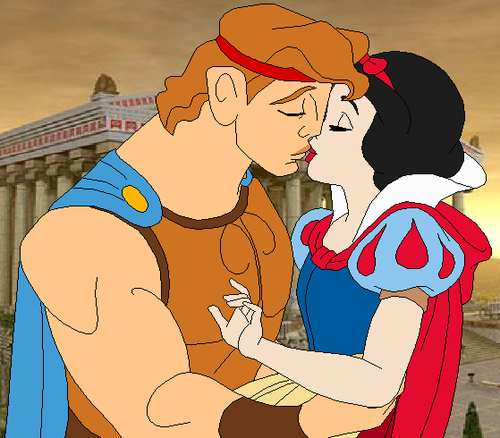 Disney crossover karatasi la kupamba ukuta containing anime called hercules and snow white