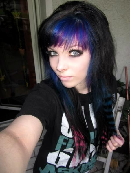 Emo girl with real blue hair webcam show