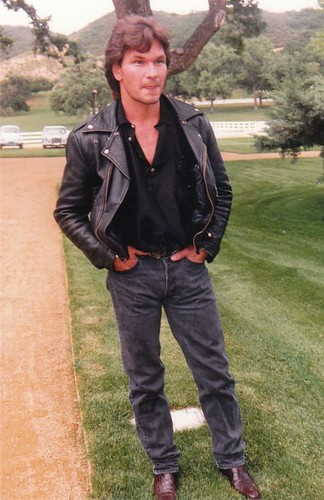 Patrick Swayze Hintergrund possibly containing a hip boot, an outerwear, and long trousers titled :)