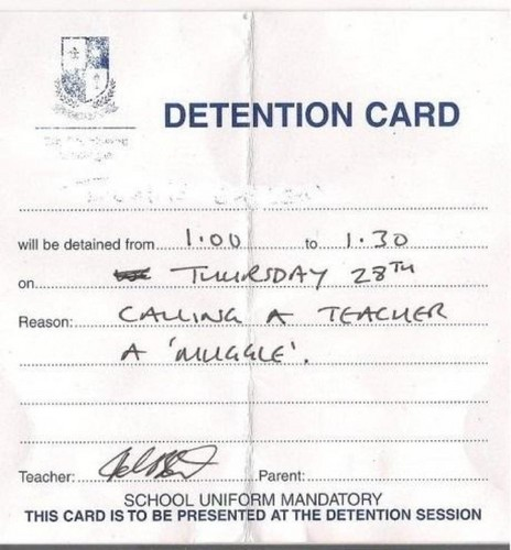 Detention card - harry-potter Photo