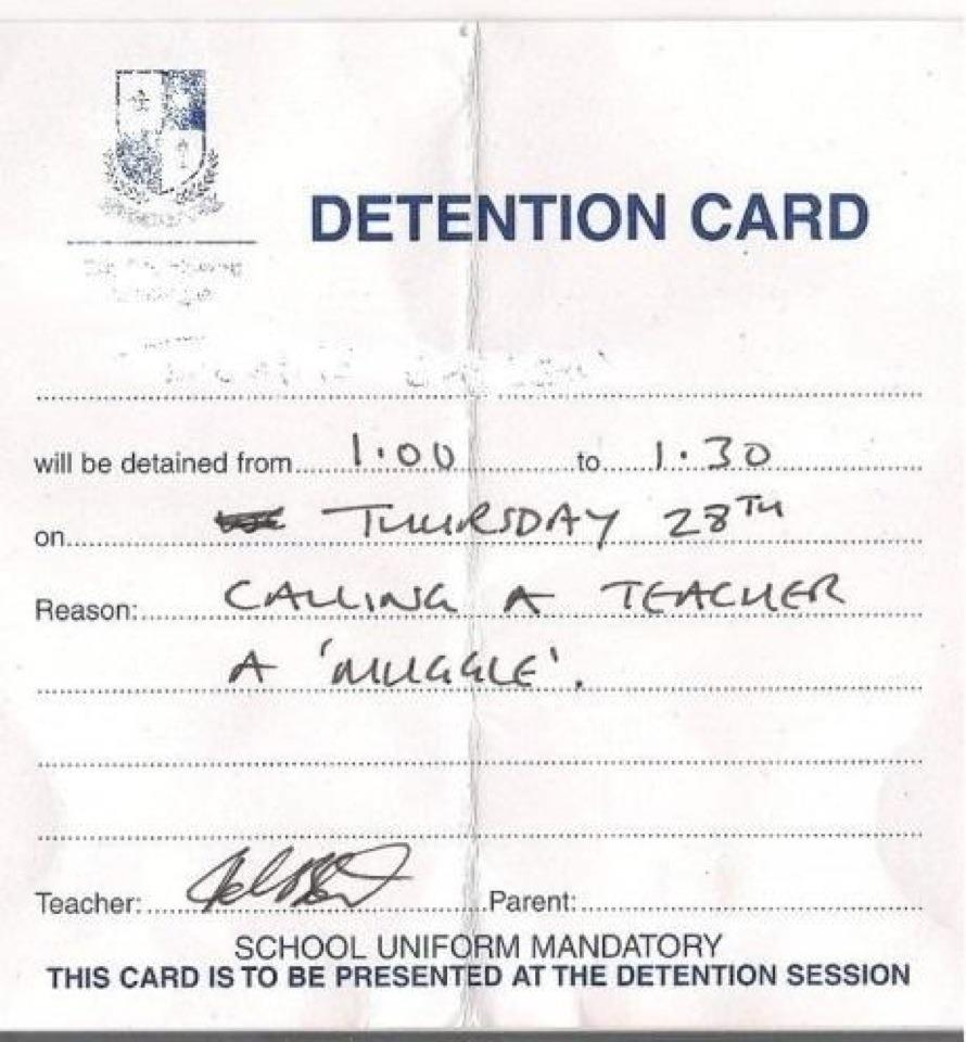 Detention card