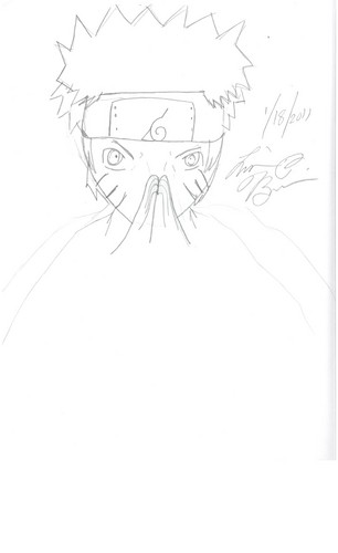 Drawn Naruto performing Jutsu