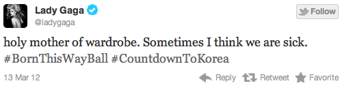 Gaga tweets about TBTWBT