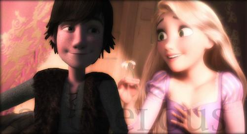 Disney crossover karatasi la kupamba ukuta entitled Hiccup & Rapunzel.