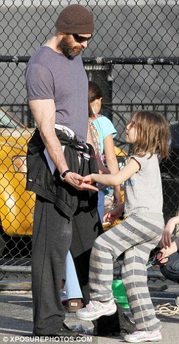 Hugh Jackman runs, plays in a NY park with daughter Ava,