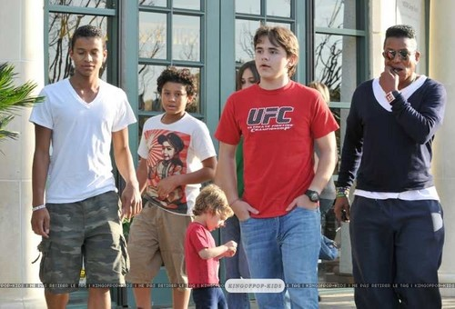 Jaafar, Jermajesty, Paris, Prince and Jermaine Jackson at the Commons in Calabasas March 11th 2012