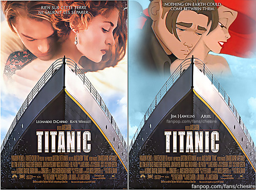 Disney crossover karatasi la kupamba ukuta probably with a sign and a stained glass window titled Jim/Ariel - Disney's Titanic Movie Poster