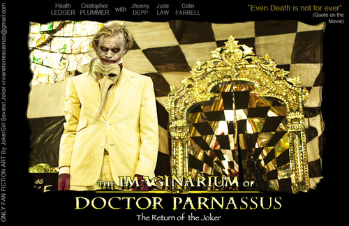 Heath Ledger wallpaper possibly containing a sign and anime entitled Joker Returns in Imaginarium of Dr. Parnassus
