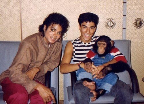Michael Jackson and his pet Bubbles Jackson