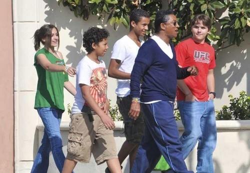 Paris Jackson, Jermajesty Jackson, Jaafar Jackson, Jermaine Jackson and Prince Jackson in Calabasas