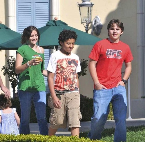 Paris Jackson, Jermajesty Jackson and Prince Jackson at the Commons in Calabasas March 11th 2012
