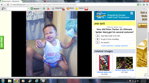 Picture of a baby dancing on The Ultimate Spider-Man fan club?
