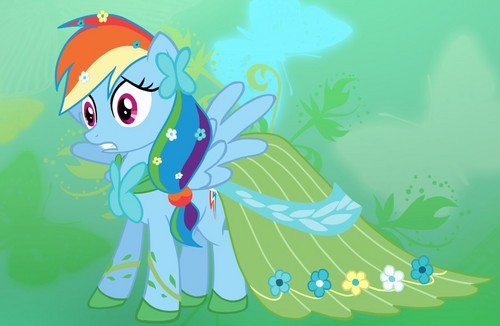 pelangi, rainbow Dash in Fluttershy's Dress