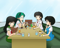 Rumic Girls_ Invader Lum, Akane Tendo, Kagome Higurashi, and Sakura Mamiya