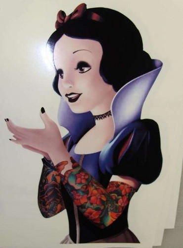 Snow White with tattooed sleeves