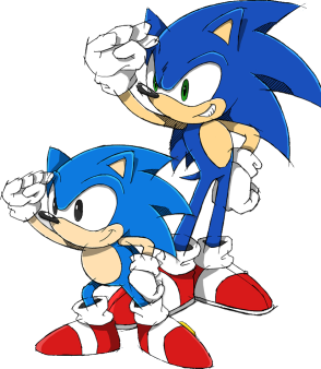 Sonic, Shadow, and Silver wallpaper containing anime titled Sonic & Classic Sonic