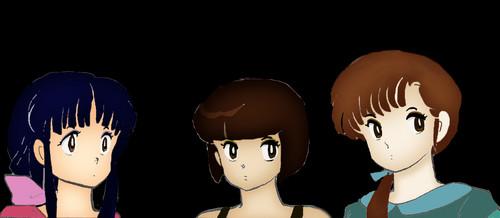 The Tendo Sisters_ मांगा Style: Akane, Nabiki, and Kasumi
