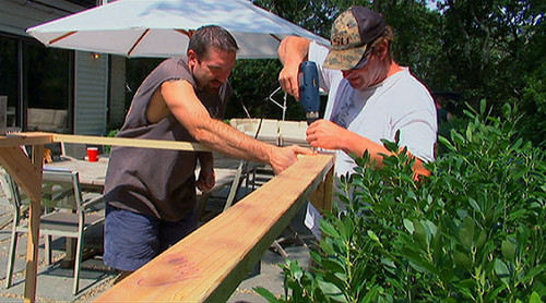 The guys build a coop