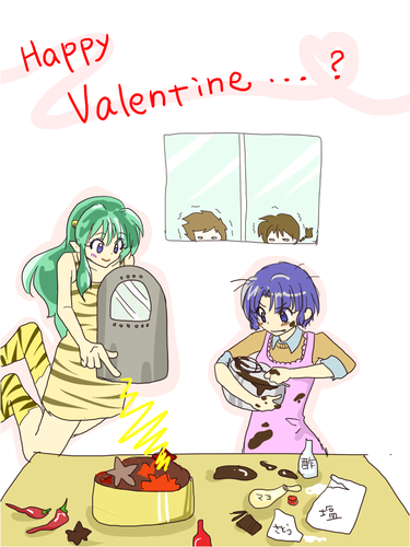 Ranma 1/2 wallpaper containing anime titled Valentine's Day _ Akane and Lum_ in the kitchen