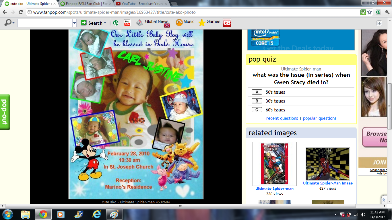 Why does this girl keep posting pictures of her baby on a SPIDER-MAN fan CLUB?!
