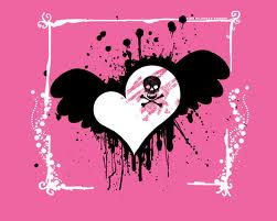 roze and black scull herts