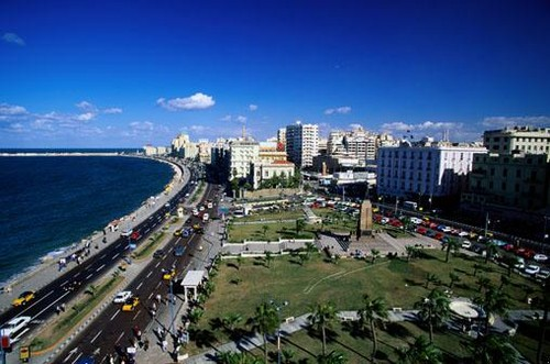 Egypt achtergrond with a business district titled Alexandria Egypt