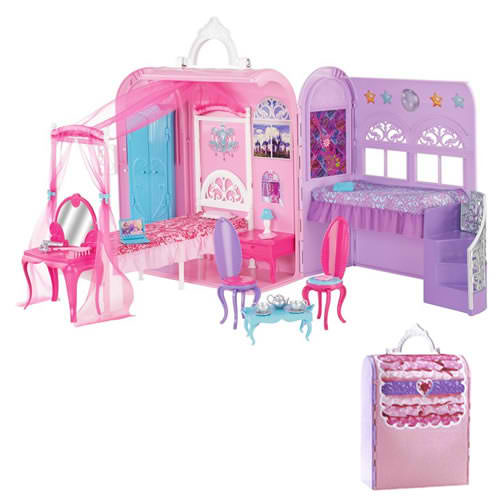 芭比娃娃 Princess and the Popstar 床, 床上 playset