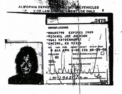First driver's license MJ