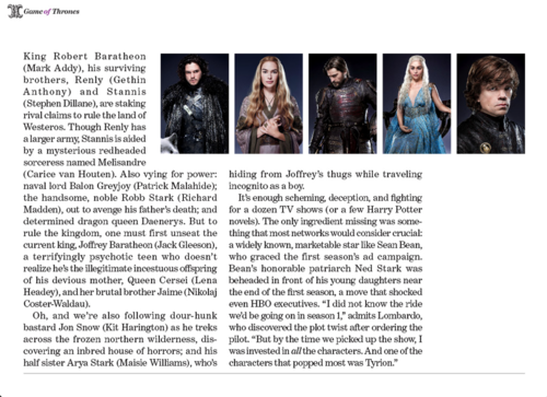 Game of Thrones- EW artikel Scan