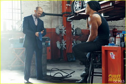 Jason Statham karatasi la kupamba ukuta possibly with a sign, a telephone booth, and a diner entitled Jason Statham Covers 'Details' April 2012
